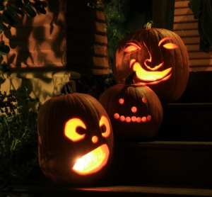 Jack 'O Lanterns on Porch